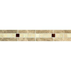 Daltile Stone Decorative Accents Copper Mystery 1-7/8 in. x 12 in. Marble and Glass Accent Wall Tile-ST66212DCOCC1L 203213476