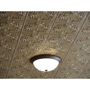 Global Specialty Products Dimensions Faux 2 ft. x 4 ft. Tin Style Ceiling and Wall Tiles in Brass-321-04 204592079