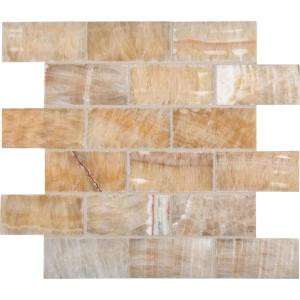 Honey 12 in. x 12 in. x 10 mm Polished Onyx Subway Mesh-Mounted Mosaic Tile-BRICK-HO8MM 202523629