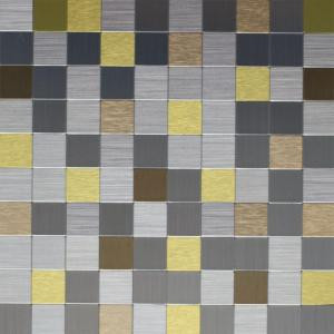 Instant Mosaic 12 in. x 12 in. Peel and Stick Brushed Stainless Champagne and Gold Metal Wall Tile-EKB-03-109 204312770