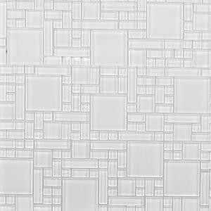 Instant Mosaic Peel and Stick Pure White 12 in. x 12 in. x 6 mm Glass Mosaic Wall Tile-EKB-04-103 204312771