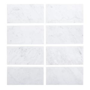 Jeff Lewis 3 in. x 6 in. Italian White Carrara Honed Marble Field Wall Tile (8-pieces/pack)-98450 207174580