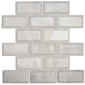 Jeffrey Court Carrara Beveled 12 in. x 12 in. x 10 mm Marble Mosaic Wall Tile-99651 203774474