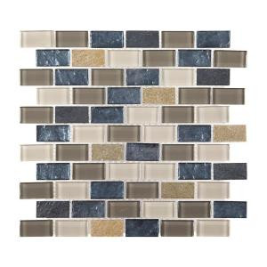 Jeffrey Court Heritage Ocean Brick 11.75 in. x 13.375 in. x 8 mm Glass and Quartz Mosaic Wall Tile-99656 203774448