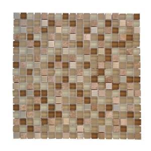 Jeffrey Court Warm Topaz 12 in. x 12 in. Tan Glass Mosaic Tile-99414 202521471