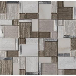 Magica 12 in. x 12 in. x 6 mm Glass and Stone Mesh-Mounted Mosaic Tile (15 sq. ft. / case)-SGLS-MAG6MM 206744765