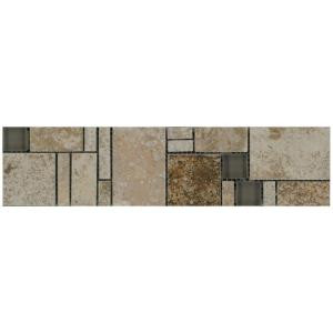 MARAZZI Travisano Trevi and Bernini 3 in. x 12 in. Glass Accent Decorative Trim Wall Tile-ULNY 205140722