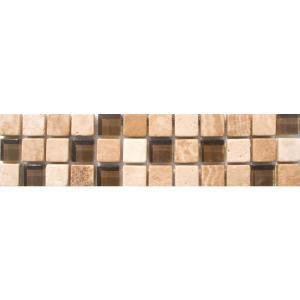 MS International Mixed 3 in. x 12 in. x 8 mm Glass Stone Mesh-Mounted Border Tile-THDW1-BOR-COR3 100664354