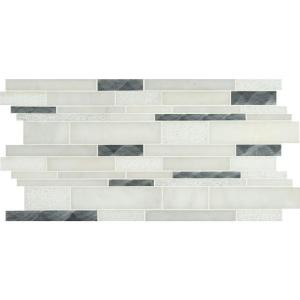 MS International Moderno Blanco Interlocking 12 in. x 18 in. x 8 mm Metal/Stone Blend Mesh-Mounted Mosaic Tile (15 sq. ft. / case)-SMTIL-MODBLA8MM 206390351