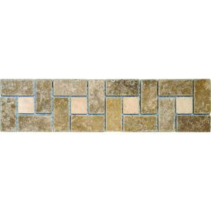 MS International Noche Chiaro Basket Weave 3 in. x 12 in.Travertine Listello Floor and Wall Tile-BOR-NCCHBW3X12T 100664331