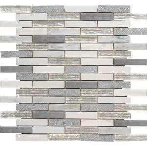 MS International Ocean Crest Brick 12 in. x 12 in. x 8 mm Glass Metal Stone Mesh-Mounted Mosaic Wall Tile (10 sq. ft. / case)-SGLSMT-OC8MM 204695051