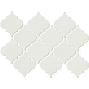 MS International Whisper White Arabesque 10-1/2 in. x 15-1/2 in. x 8 mm Glazed Ceramic Mesh-Mounted Mosaic Wall Tile (11.3 sq.ft. / case)-PT-WW-ARABESQ 205308158