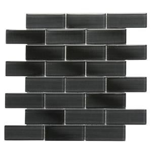 Solistone Mardi Gras Claiborne 12 in. x 12 in. x 6.35 mm Black Glass Mesh-Mounted Mosaic Wall Tile (10 sq. ft. / case)-9075 202018548