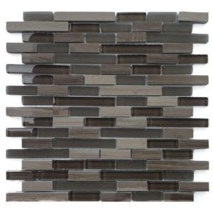 Solistone Opera Glass Aria Dark 12 in. x 12 in. x 7.9 mm Glass and Marble Mosaic Wall Tile (10 sq. ft. / case)-9037D 205012998