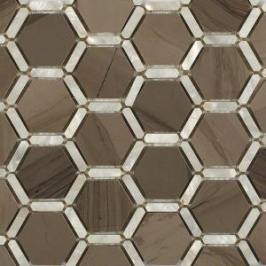 Splashback Tile Ambrosia Athens Gray 12 in. x 12 in. x 10 mm Polished Pearl and Marble Mosaic Tile-AMBPLATNGR 206785964