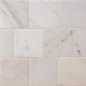 Splashback Tile Brushed White Carrara 4 in. x 4 in. Marble Floor and Wall Tile (9-Pieces)-BR4X4WTCR 207125535