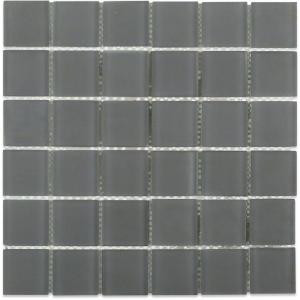 Splashback Tile Contempo Smoke Gray Polished 12 in. x 12 in. x 8 mm Glass Floor and Wall Mosaic Tile-CONTEMPOSMOKEGRAYPOLISHED2X2GLASSTILE 203288479