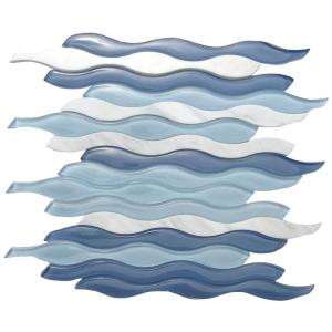 Splashback Tile Flow Wave Polished Glass and Marble Mosaic Wall Tile - 3 in. x 6 in. Tile Sample-C2B9 206496993
