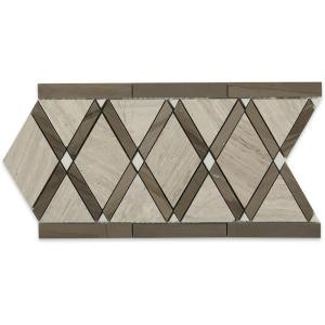 Splashback Tile Grand Athens Gray Border 6 in. x 12 in. x 10 mm Polished Marble Floor and Wall Tile-GDATNGRYBD 206823016