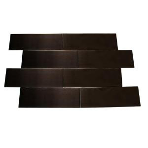 Splashback Tile Metal Copper 2 in. x 6 in. x 8 mm Stainless Steel Metal Mosaic Floor and Wall Tile-METAL COPPER STAINLESS STEEL 2x6  TILES 203478206