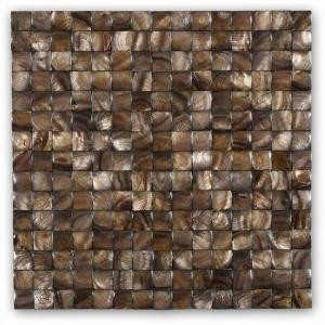 Splashback Tile Mother of Pearl Nacre Brown 12 in. x 12 in. x 2 mm 3D Pearl Shell Glass Wall Mosaic Tile-MOPNACREBROWN3DPEARL 206496845