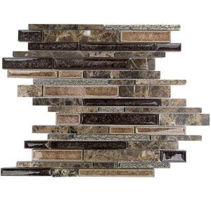 Splashback Tile Olive Branch Dark Roast Glass and Stone Mosaic Tile - 3 in. x 6 in. Tile Sample-C2C13 206203082