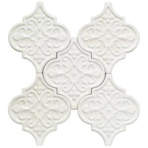 Splashback Tile Vintage Florid Lantern White 6-1/4 in. x 7-1/4 in. x 8 mm Ceramic Wall Mosaic Tile (5 Tiles Per Unit)-VINTAGEFLORIDLANLTWHT 206496939