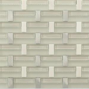Splashback Tile Weave Bright White Polished Glass, Marble and Metal Tile - 3 in. x 6 in. Tile Sample-L3D8WEVBRTWHT 206822954