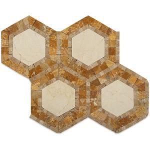 Splashback Tile Zeta Crema Marfil Noche 10-3/4 in. x 12-1/4 in. x 10 mm Polished Marble Mosaic Tile-ZTACRMR 206785996