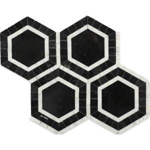 Splashback Tile Zeta Nero 10-3/4 in. x 12-1/4 in. x 10 mm Polished Marble Mosaic Tile-ZETANRO 206785998