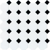 Daltile Matte White with Black Dot 12 in. x 12 in. x 6 mm Ceramic Octagon/Dot Mosaic Tile (10 sq. ft. / case)-65012OCT21CC1P2 100189739