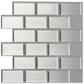 Instant Mosaic 3 in. x 6 in. Peel and Stick Mosaic Decorative Wall Tile Sample in Silver Metallic-SAMPLE-07110 207088633