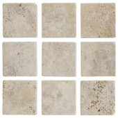Jeffrey Court 4 in. x 4 in. Light Travertine Tumbled Wall Tile (9-Pack)-67542 100178748