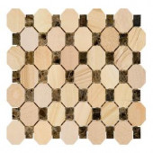 Jeffrey Court Coconut Bark 10-7/8 in. x 11-1/8 in. x 7.54 mm Sandstone/Dark Emperador Mosaic Wall Tile-99770 205594408