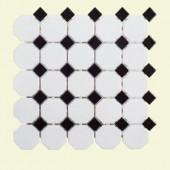 Jeffrey Court Retro Octagon Black Dot 11-1/2 in. x 11-1/2 in. x 6 mm Porcelain Mosaic Tile-96026 207089042