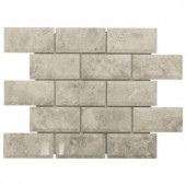 Jeffrey Court Roman 2 x 4 Beveled 13.75 in. x 10 in. x 10 mm Grey Marble Mosaic Wall Tile-99708 204659620