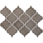 MS International Dove Gray Arabesque 10-1/2 in. x 15-1/2 in. x 8 mm Glazed Ceramic Mesh-Mounted Mosaic Wall Tile (11.3 sq. ft. / case)-PT-DG-ARABESQ 205308156