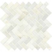 MS International Greecian White Herringbone Pattern 12 in. x 12 in. x 10 mm Polished Marble Mesh-Mounted Mosaic Tile (10 sq. ft. / case)-SMOT-GRE-HBP 206279726