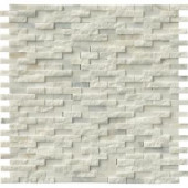 MS International Greecian White Splitface 12 in. x 12 in. Marble Mesh-Mounted Mosaic Wall Tile-GRE-SFIL10MM 204265392