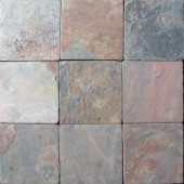 MS International Multi Color 4 In. x 4 In. Tumbled Slate Floor and Wall Tile (1 sq. ft. / case)-THDW3-T-MC4X4T 100664322