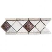MS International Noche/Chiaro Copper Scudo 4 in. x 12 in. Travertine/Metal Listello Floor and Wall Tile-BOR-CHCOSC4X12T 100664285
