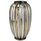 ORE International 13 in. H Silver Decorative Vase and Gold Metallic Tiles-K-4246-V1 205012581