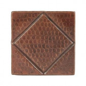 Premier Copper Products 4 in. x 4 in. Hammered Copper Decorative Wall Tile with Diamond Design in Oil Rubbed Bronze (8-Pack)-T4DBD_PKG8 206856746