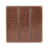 Premier Copper Products 4 in. x 4 in. Hammered Copper Decorative Wall Tile with Linear Design in Oil Rubbed Bronze (8-Pack)-T4DBL_PKG8 206856748