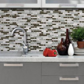 Smart Tiles Bellagio Grigio 10.125 in. x 10 in. Peel and Stick Mosaic Decorative Wall Tile in Brown (6-Pack)-SM1065-6 205656071