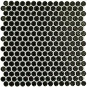 Splashback Tile Bliss Penny Round Black 12 in. x 12 in. x 10 mm Polished Ceramic Floor and Wall Tile-BLISSPNYRNDPOLBLK 206496918