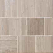 Splashback Tile Brushed Wooden Beige 4 in. x 4 in. Marble Floor and Wall Tile (9-Pieces)-BR4X4WDB 207125534