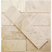 Splashback Tile Crema Marfil 3 in. x 6 in. x 10 mm Marble Floor and Wall Tile-CREMA MARFIL 3X6 MARBLE TILE 203478142
