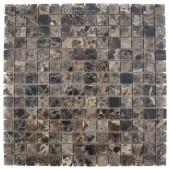 Splashback Tile Dark Emperidor Squares 12 in. x 12 in. x 8 mm Marble Floor and Wall Tile-DARK EMPERIDOR 3/4x3/4 SQUARES MARBLE 203478158
