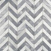 Splashback Tile Dart White Carrara and Bardiglio Marble Mosaic Tile - 3 in. x 6 in. Tile Sample-S1C2DRTCRABRD 206675397